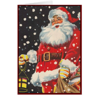 Santa Claus with Christmas Lantern - Vintage Image Card
