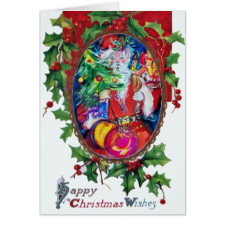 SANTA  CLAUS WITH CHRISTMAS TREE AND GIFTS CARD