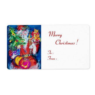 SANTA  CLAUS WITH CHRISTMAS TREE AND GIFTS LABEL