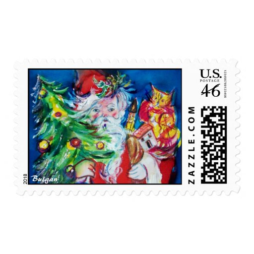 SANTA CLAUS WITH CHRISTMAS TREE AND GIFTS STAMPS