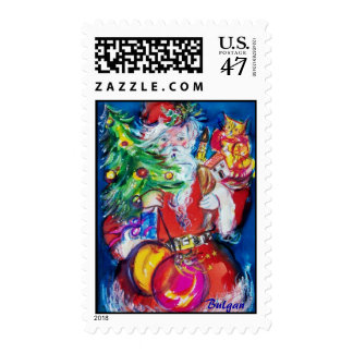 SANTA CLAUS WITH CHRISTMAS TREE AND GIFTS POSTAGE