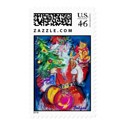 SANTA CLAUS WITH CHRISTMAS TREE AND GIFTS POSTAGE STAMPS
