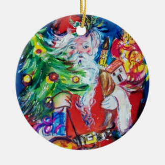 SANTA CLAUS WITH CHRISTMAS TREE AND GIFTS Red Ruby Ceramic Ornament