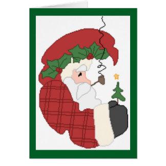 Santa Claus with Christmas Tree Greeting Card