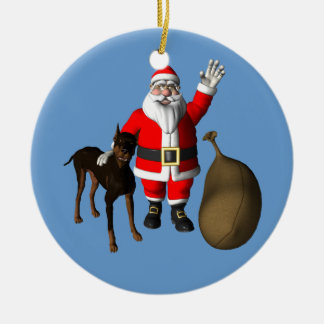 Santa Claus With Doberman Pinscher Ceramic Ornament