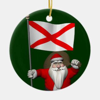 Santa Claus With Ensign Of Alabama Ceramic Ornament