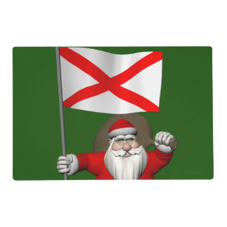 Santa Claus With Ensign Of Alabama Placemat