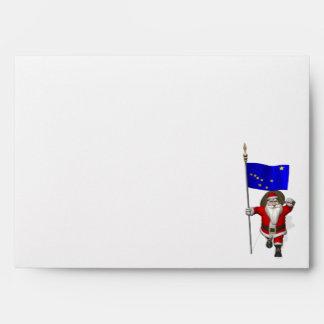 Santa Claus With Ensign Of Alaska Envelope