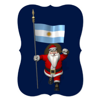 Santa Claus With Ensign Of Argentina 5x7 Paper Invitation Card