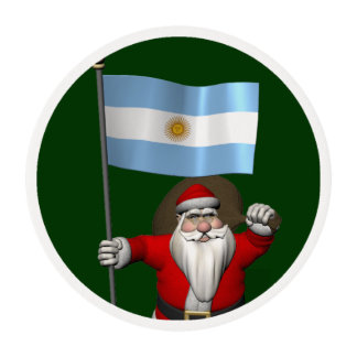 Santa Claus With Ensign Of Argentina Edible Frosting Rounds