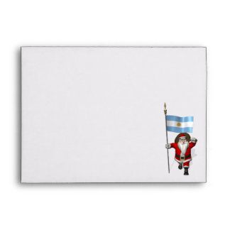 Santa Claus With Ensign Of Argentina Envelope