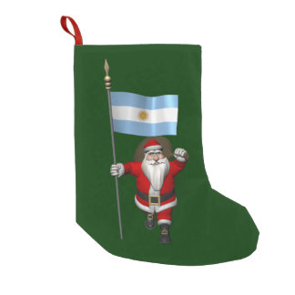 Santa Claus With Ensign Of Argentina Small Christmas Stocking