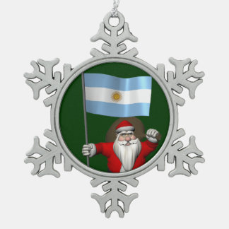 Santa Claus With Ensign Of Argentina Snowflake Pewter Christmas Ornament