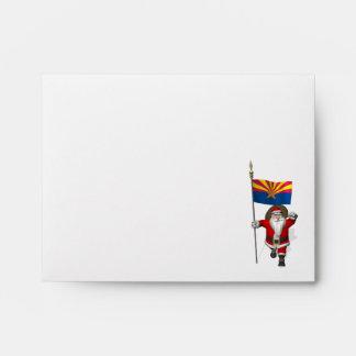 Santa Claus With Ensign Of Arizona Envelope