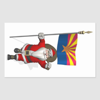 Santa Claus With Ensign Of Arizona Rectangle Stickers