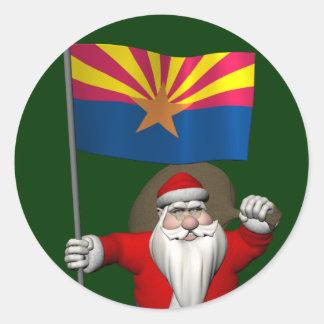 Santa Claus With Ensign Of Arizona Sticker