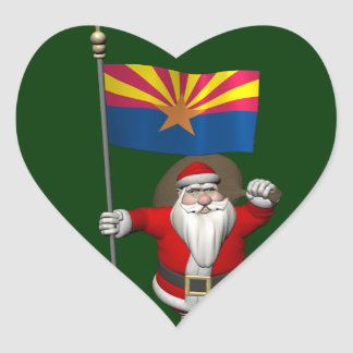 Santa Claus With Ensign Of Arizona Stickers