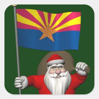 Santa Claus With Ensign Of Arizona Square Sticker