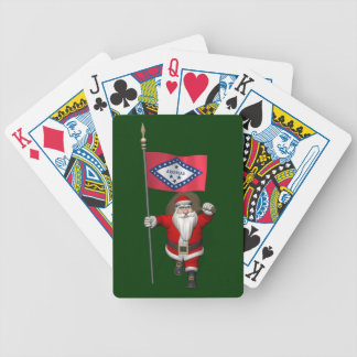 Santa Claus With Ensign Of Arkansas Bicycle Playing Cards
