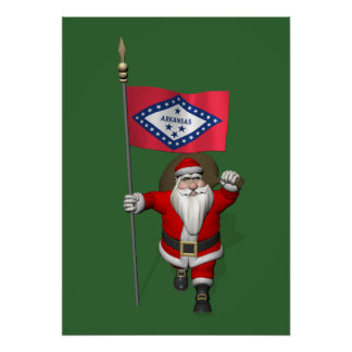 Santa Claus With Ensign Of Arkansas Poster