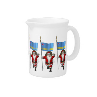 Santa Claus With Ensign Of Aruba Beverage Pitchers