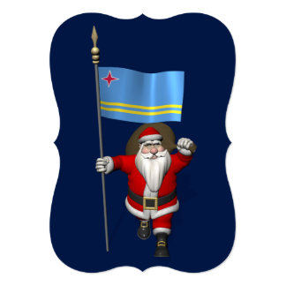 Santa Claus With Ensign Of Aruba Card