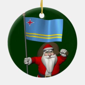 Santa Claus With Ensign Of Aruba Ceramic Ornament