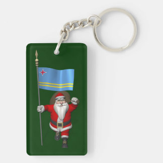 Santa Claus With Ensign Of Aruba Keychain