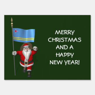 Santa Claus With Ensign Of Aruba Lawn Sign