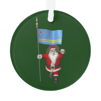 Santa Claus With Ensign Of Aruba Ornament