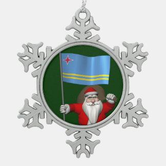 Santa Claus With Ensign Of Aruba Snowflake Pewter Christmas Ornament