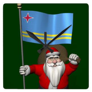 Santa Claus With Ensign Of Aruba Square Wall Clock