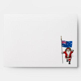 Santa Claus With Ensign Of Australia Envelope
