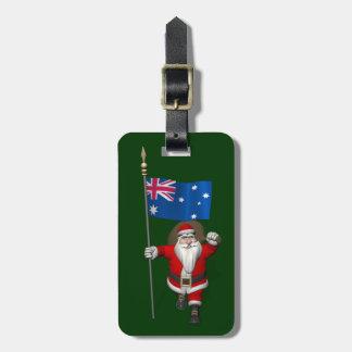 Santa Claus With Ensign Of Australia Luggage Tag