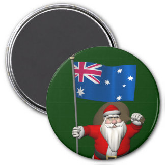 Santa Claus With Ensign Of Australia Magnet