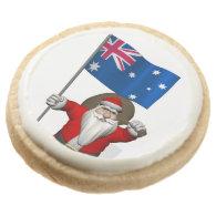 Santa Claus With Ensign Of Australia Round Premium Shortbread Cookie