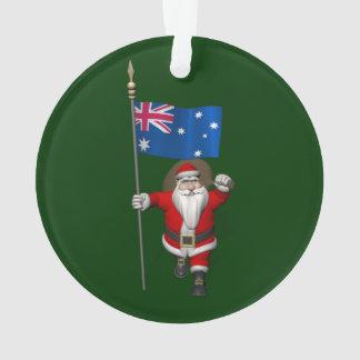 Santa Claus With Ensign Of Australia Ornament