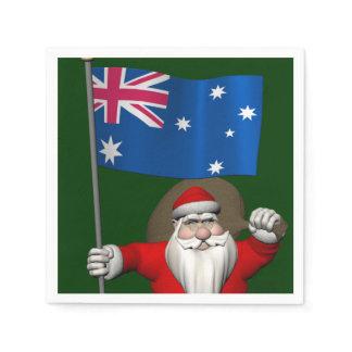 Santa Claus With Ensign Of Australia Paper Napkin