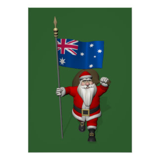 Santa Claus With Ensign Of Australia Posters