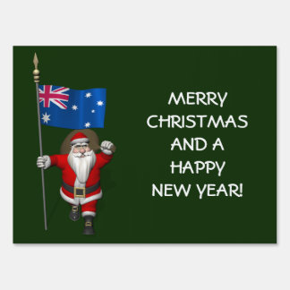 Santa Claus With Ensign Of Australia Yard Sign