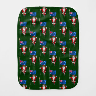 Santa Claus With Ensign Of Australia Baby Burp Cloths