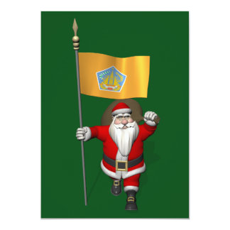 Santa Claus With Ensign Of Bali Card
