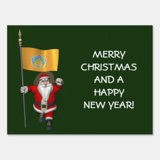 Santa Claus With Ensign Of Bali Lawn Sign