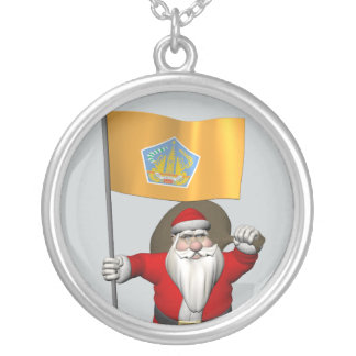 Santa Claus With Ensign Of Bali Silver Plated Necklace