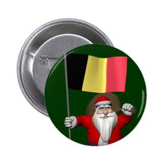 Santa Claus With Ensign Of Belgium Button