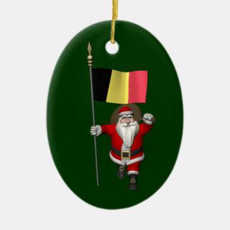 Santa Claus With Ensign Of Belgium Ceramic Ornament