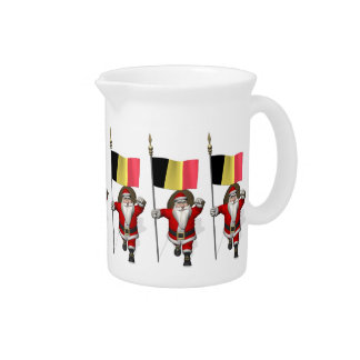 Santa Claus With Ensign Of Belgium Drink Pitcher