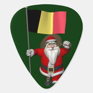 Santa Claus With Ensign Of Belgium Guitar Pick