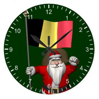 Santa Claus With Ensign Of Belgium Large Clock