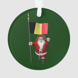 Santa Claus With Ensign Of Belgium Ornament